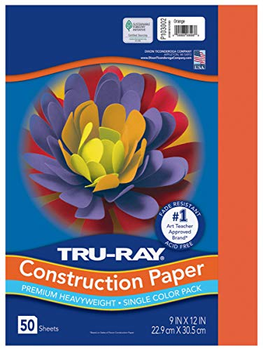 Pacon PAC103002  Tru-Ray Construction Paper, 9 x 12 Inches, Orange, 50 Sheets (103002)