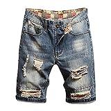Chejarity Pantalones vaqueros cortos para hombre, pantalones cortos, para verano, tiempo libre, bermudas rectas Azul-7. 34