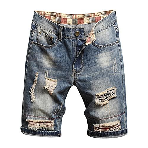 BIBOKAOKE Short en jean pour homme - Coupe droite - Résistant à l'usure - En denim côtelé - Style usé - Style vintage - Pour l'été - Beige - Medium