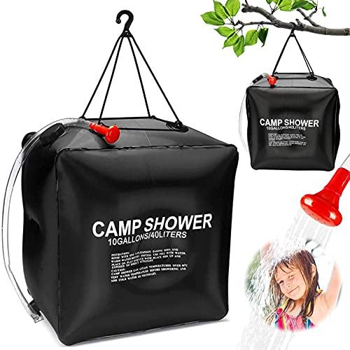 40L Solardusche Duschsack,Solardusche Camping,Campdusche Wassersack, Solar Heizung Dusche Tasche, Outdoor Warmwasser Duschsack, Tragbare Camping Dusche Tasche,Outdoor Gartendusche Warmwasser