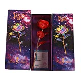 Ksnrang Día de San Valentín Regalo Regalo Oro Lámina Rosa Flor Color Conjunto Día de San Valentín Regalo Festival Regalo Pequeño Regalo Regalo-Flor roja + Caja de Regalo + Bolso + Certificado