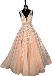 Abaowedding Women s Wedding Dress for Bride Lace Applique Evening Dress V  Neck Straps Ball Gowns 86461ff31