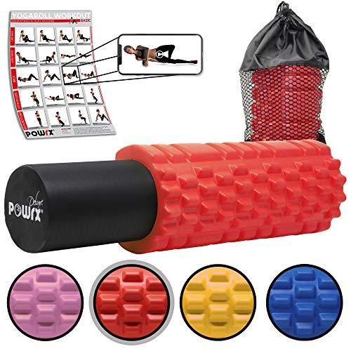 POWRX Faszienrolle 2 in 1 Set inkl. Tragetasche & Workout I Foam Roller Massagerolle 33 x 15 cm I Triggerpunkt Selbstmassage versch. Farben Rot