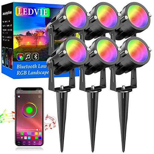LEDVIE 15W RGB DC Low Voltage Landscape Lights, 6Pack LED Landscape Lighting Outdoor RGBW LED Landscape Lights Waterproof Landscape Lighting Kit 2700K Warm White, 16 Million Color, Timing, Music Sync