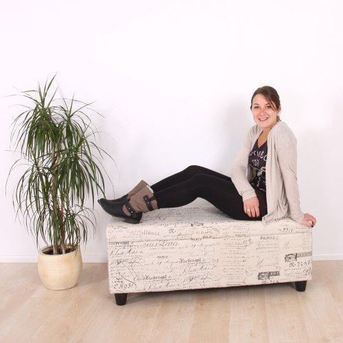 Mendler Aufbewahrungs-Truhe Sitzbank Bank Kriens XXL, Kunstleder, 180x45x45cm ~ schwarz matt - 7