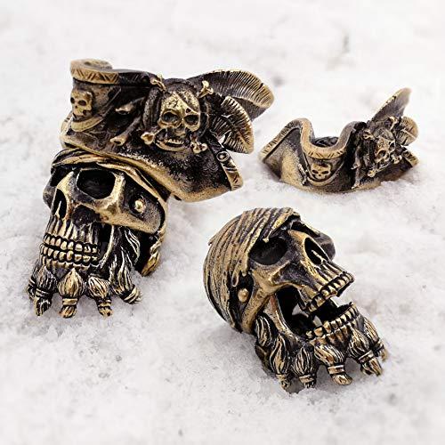 CooB 1Pcs/Lot EDC Paracord Bead Beads Pendant Charm Hair Beard. DIY Hand-Casted Metal Beads Pendants Charms for Custom Making Bracelet Lanyard Black Beard ( Pirate Skull Jack Sparrow Bronze )