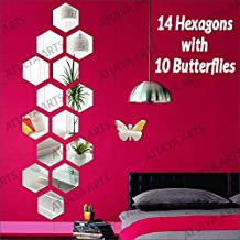 Wall1ders Atulya Arts - 3D Hexagon Acrylic Stickers (Pack of 14) with 10 Butterflies, Acrylic Mirror Wall Stickers for Hom...