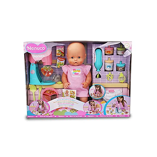 Nenuco - ¿Qué comemos hoy?, muñeco bebé con accesorios de comiditas y merienditas para hacer las papillas, con 2 juguetes electrónicos, batidora y cuchara, niñas y niños de 4 años, Famosa (700016649)