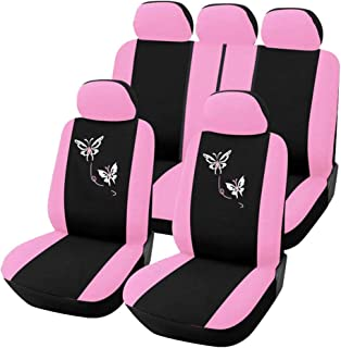 AUTOYOUTH Pink Car Seat Covers for Women Full Set Universal Fit Car Seat Protectors Rear Split Butterfly Flowers Embroidery Compatible to Most Cars Fashion Car Interior Accessories - 9PCS