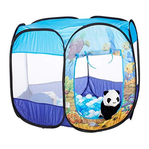Relaxdays Bällebad Unterwasserwelt, 100 Bälle, 6-eckig, Pop Up Ballpool, HBT 77 x 98 x 83 cm, Bällchenbad Kinder, blau
