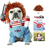 Coppthinktu Deadly Doll Dog Clothes Dog Costume Halloween Costumes for Dogs Adjustable Dog Cosplay Costume Funny Lethal Doll Wig Pug Dog Party Clothes Christmas Costume
