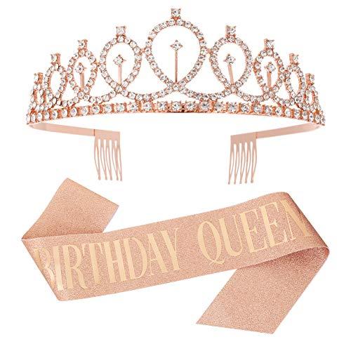 metagio Kit d'Accessoires Anniversaire de Tout Âge Birthday Queen Reine Écharpe Déguisement avec Bandeaux Couronne Strass pour Décoration Cadeau Costume d'Anniversaire Fille (Or Rose)