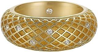 خاتم للنساء من اسبريت مصنوع من الفضة الاسترلينية 925 المطلية بالروديوم، مع كريستال زركونيا وشبكة ذهب نقي، ابيض ESRG91914B