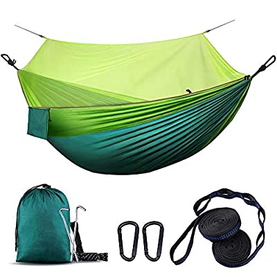 WOVUU Camping Hammock with Net,Lightweight Outdoor Indoor Portable Hammock with Tree Starps,Carabiners,Durable Parachute Nylon Hammocks for Travel Backpacking Hiking Fishing Adventures (Green)