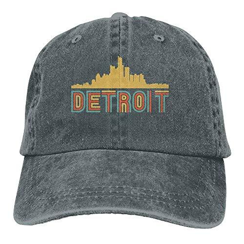 wwoman Gorra de bisbol Hombres Mujeres, Estilo Retro Detroit Michigan Skyline2 Algodn Ajustable Jeans Gorra Sombrero