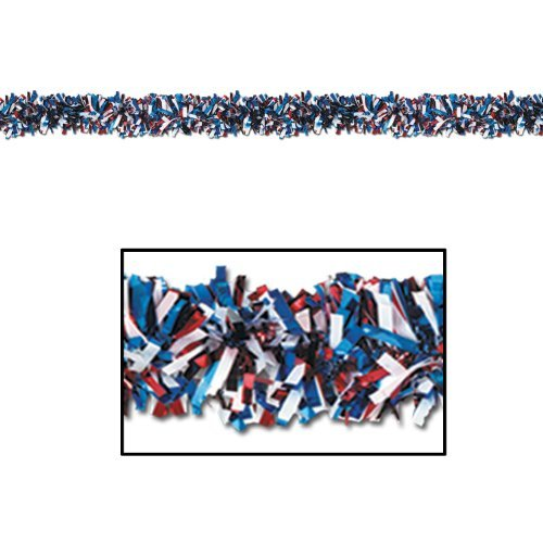 6-Ply FR Gleam 'N Fest Festooning Garland (red, white, blue) Party Accessory (1 count) by Beistle