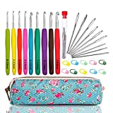 WooCrafts Large-Eye Blunt Needles Yarn Knitting Plus Crochet Hooks Set with Case,Ergonomic...