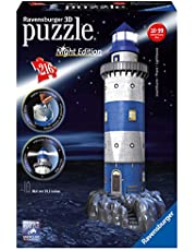 Ravensburger 3D Puzzle 12577 - Leuchtturm bei Nacht - 216 Teile