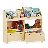 Relaxdays, 88 x 108 x 29 cm, Beige Librería Infantil, Estantería para Niños,...