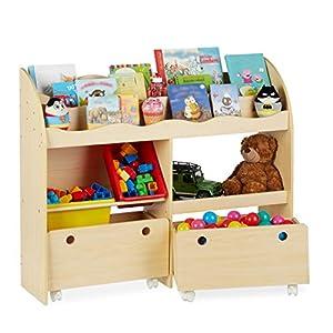 Relaxdays, 88 x 108 x 29 cm, Beige Librería Infantil, Estantería para Niños, Guarda Juguetes con Cajas Almacenaje, DM