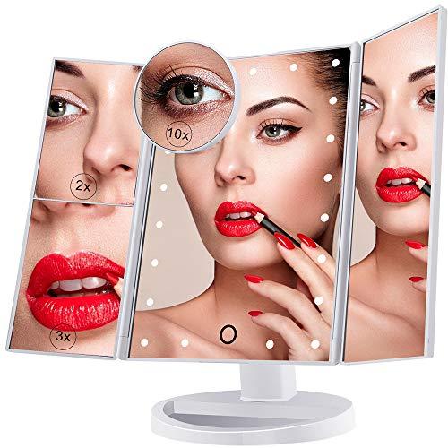 Espejo de Maquillaje Iluminado, 21 Luces LED Espejo Cosméti