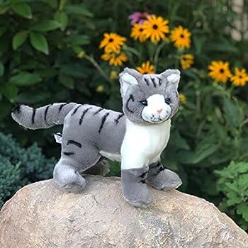 Auswella Plush Grey Tabby Cat - Plush Stuffed Animals