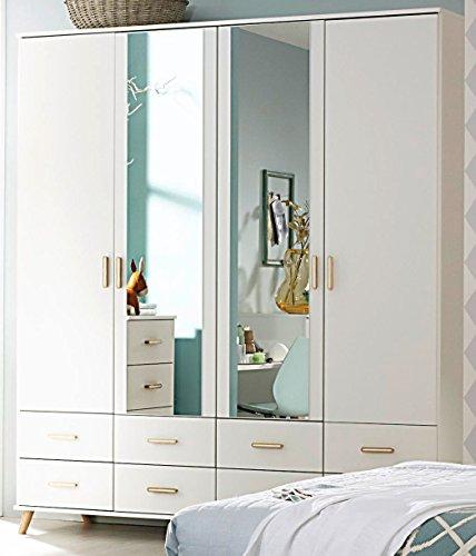 Rauch Drehtürenschrank, 4-türig, 2 Spiegeltüren alpinweiß/Esche Coimbra 182 x 203 x 53 cm skandinavisch