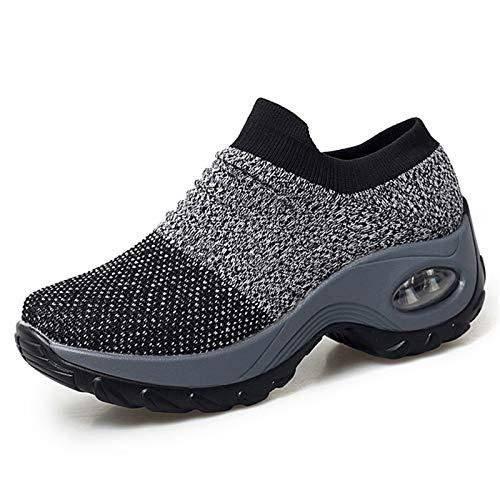 XPERSISTENCE Walkingschuhe Damen Leichte Mesh Laufschuhe Atmungsaktive Laufschuhe Grau Größe 39