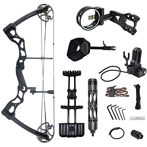 iGlow 40-70 lbs Black Archery Hunting Compound Bow with Elite Kit 175 150 60 55 30 lb Crossbow