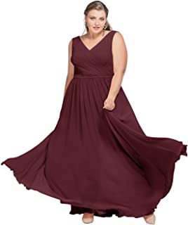 AW V-Neck Bridesmaid Dresses Chiffon Formal Prom Dresses Long Plus Size Evening Gowns