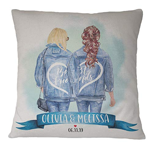 Personalized Best Friend Pillowcase for Women - 48 Hair Styles and Colors - Custom Pillow Cases with Names - BFF, Galantine's Day Gifts, Long Distance Friendship, Birthday Gifts for Besties in Jeans