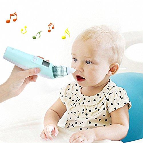 Baby Nasensauger, Luerme Electric Nasensauger Safe Hygienische Nase Reiniger mit LCD Bildschirm, Musik, bunten Licht und 3 Ebenen Saug für Neugeborene und Kleinkinder (Blau) - 6