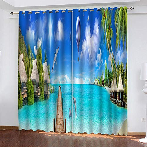 CLYDX Eyelet Curtains 28.54'x96.46' For Bedroom, Sea View Vacation Polyester Window Drape For Kitchen Cafe Curtains Shade Window Curtains, 2 Panels