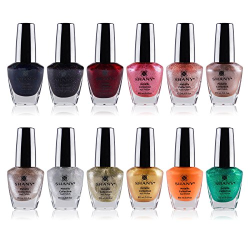 SHANY Cosmetics Nail Polish Set - 12 Futuristic Shades in Gorgeous Semi Glossy and Shimmery Finishes - Metallic Collection