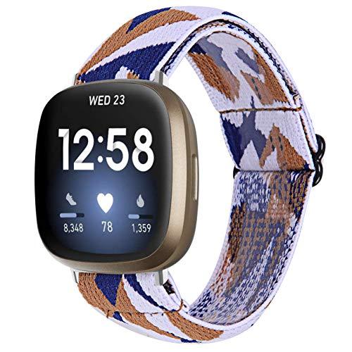 TechCode Bandas elásticas para Fitbit Versa 3, Bandas de Reloj Trenzadas elásticas Suaves Telas de Repuesto Correa de Velcro elástica Pulsera para Fitbit Sense/Versa 3 (A12)
