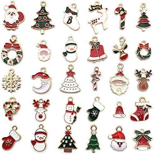 30Pcs Enamel Charms for Jewelry Christmas Tree Making safety Snowflake Clearance SALE! Limited time!