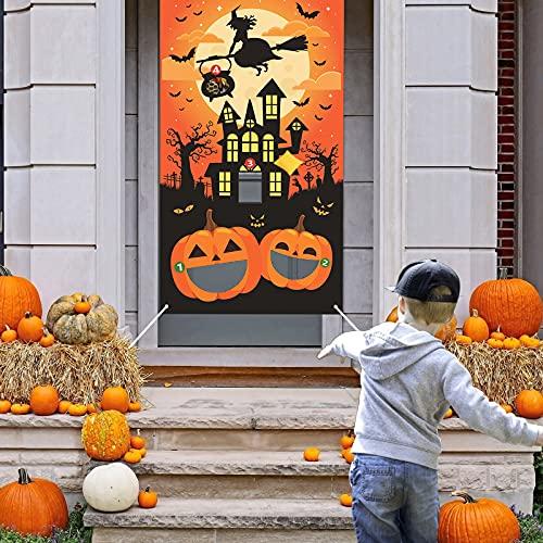 LAMEK Juegos de Lanzamiento de Halloween Calabazas Juego de Lanzamiento de Interiores Exteriores Halloween Toss Banner con 3 Bolsas de Frijoles para Niños Adultos Fiesta de Halloween Decoraciones