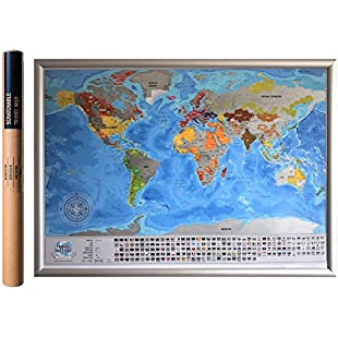 Detailed Scratchable Travel Map with 196 Country Flags, 732 Cities, 76 Depths, 13 Highest Peaks, Vibrant Colours, Great Scratchable World Map Gift for Any Traveler:Donald-trump