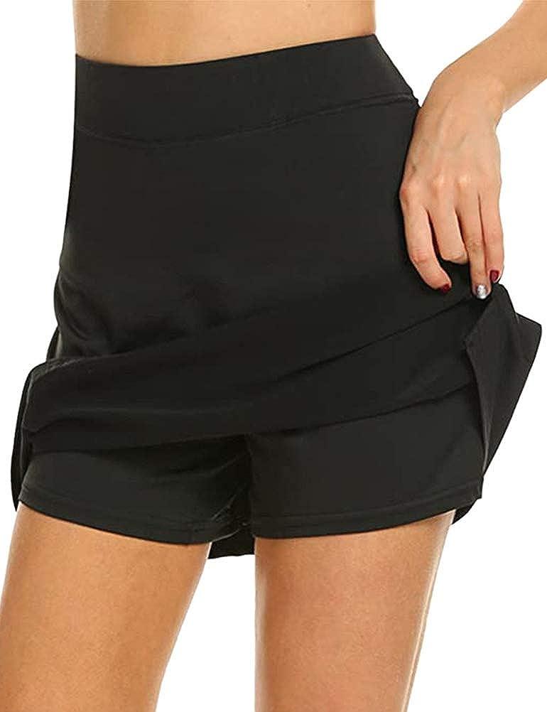 SNRC Womens High Waist A-line Day Dress Casual Split Hem Solid Color Mini Skirt