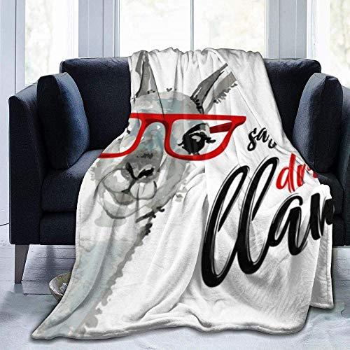 kglkb Bedruckte Flanelldecke,Schlafsofa-Decken Seien Sie Cool SAGT Die No Drama Lama Niedlichen Cartoon Alpaka Decke Flauschige Decke Bett Werfen Decke Gemütliche Decken