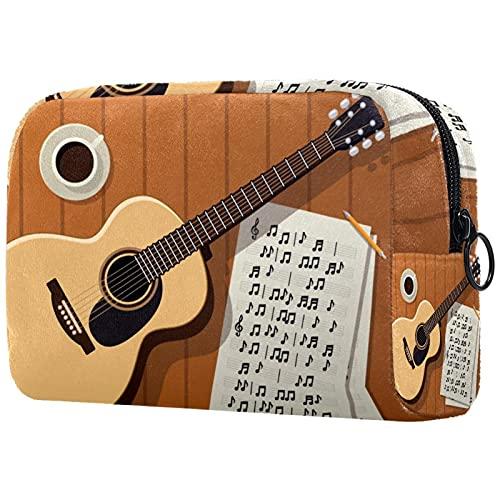 Bolsa de maquillaje para guitarra acústica con cremallera, organizador de cosméticos de viaje para mujeres y niñas