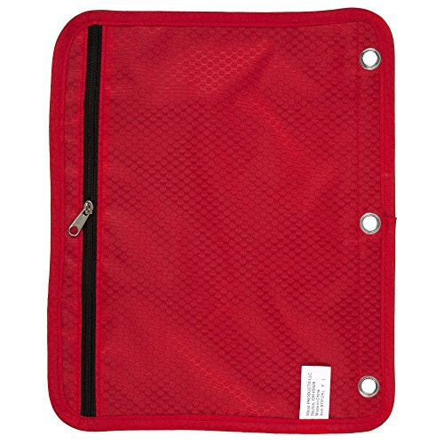 Five Star Zipper Pouch, Pencil Pouch, Pen Holder, Fits 3 Ring Binders, Red / Gray (50642BE7) Photo #3