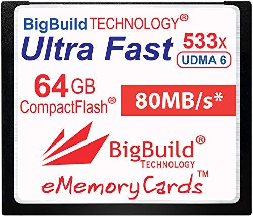 eMemoryCards Scheda di memoria 64GB Ultra Fast 80MB/s CompactFlash compatibile con Canon 10D/20D/30D/40D/50D/1D/1Ds/5D/5Ds/7D Mark I/II/III/IV, Nikon D, Olympus E, Sony Alpha, Leica S Cameras