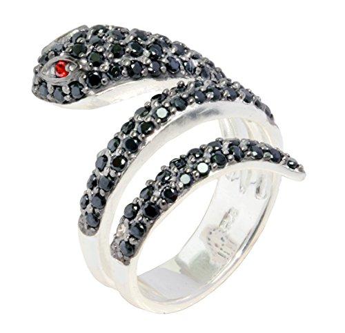 Schlangenring mit Zirkonia Black Diamond in 925 Silber (58 (18.5))