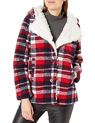 Steve Madden Women's Fashion Coat, Soft Sherpa Red Plaid, M