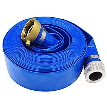 1.5  x 50  Blue PVC Backwash Hose for Swimming Pools Heavy Duty Discharge Hose Reinforced Pool Drain Hose with Aluminum Pin Lug Fittings