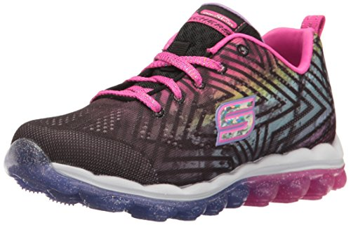 Skechers Skechers Kids Girls' Skech-Air-Jumparound Running Shoe, Black/Multi Knit, 12 M US Little Kid