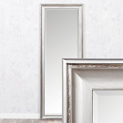 LEBENSwohnART Spiegel COPIA 180x70cm Silber-Antik Wandspiegel Barock Holzrahmen und Facette