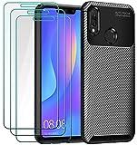 ivoler Funda para Huawei P Smart+ 2018 / Huawei P Smart Plus 2018 + 3 Unidades Cristal Templado, Fibra de Carbono Negro TPU Suave de Silicona [Carcasa + Vidrio Templado] Caso y Protector de Pantalla