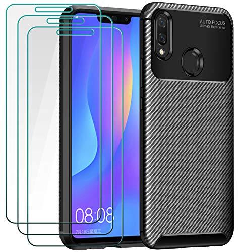 ivoler Funda para Huawei P Smart+ 2018 / Huawei P Smart Plus 2018, con 3 Unidades Cristal Templado, Fibra de Carbono Carcasa Protectora Antigolpes Negro, Suave TPU Silicona Caso Anti-Choques Case